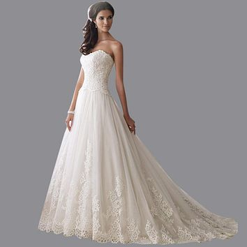 Sweetheart Neckline Wedding Gown A-Line Off The Shoulder Court Train Tulle New Wedding Dress 2015 With Appliques BN458