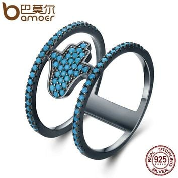 925 Sterling Silver Fashion Hamsa Hand Blue CZ Double Layer Finger Rings for Women Party Jewelry SCR118