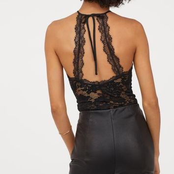 Lace Top - Black - Ladies | H&M US