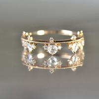 Rose Cut Diamond Crown Ring by Kataoka
