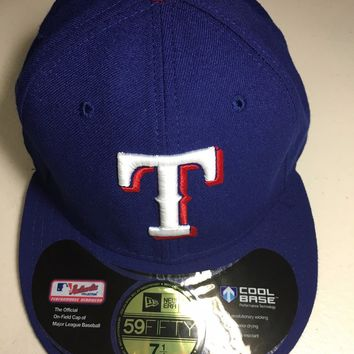 TEXAS RANGERS MLB RETRO NEW ERA 5950 BLUE W/ BLACK UNDER FITTED HAT
