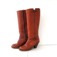 Vintage 1970s brown leather tall cowboy boots. buckled high heel cowgirl boots.
