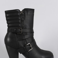 Zipper Strappy Buckle Quilted Chunky Heeled Mid Calf Boots