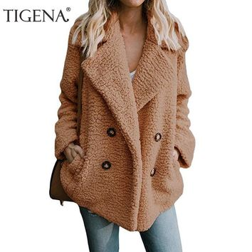 Trendy TIGENA 2018 Autumn Winter Jacket Women Long Sleeve Double Breasted Faux Fur Bomber Jacket Coat Female Fluffy Shaggy Jacket Lady AT_94_13