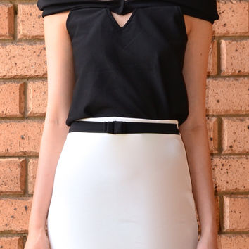 BLACK AND WHITE COMBO TOP AND SKIRT SET