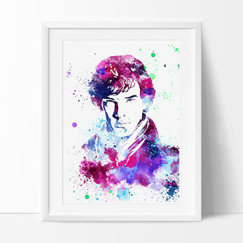 Sherlock Holmes Poster Watercolor Art, Celebrity Portraits, Watercolour Painting Print , Wall Art Decor, Watercolor Painting, Art Print - 13