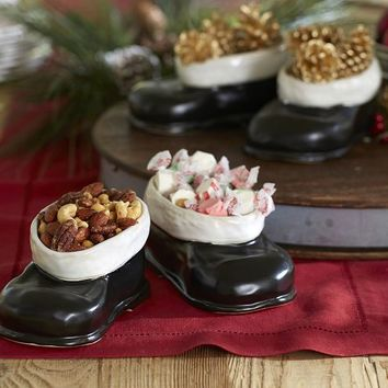 Santa Boot Snack Bowls | Pottery Barn