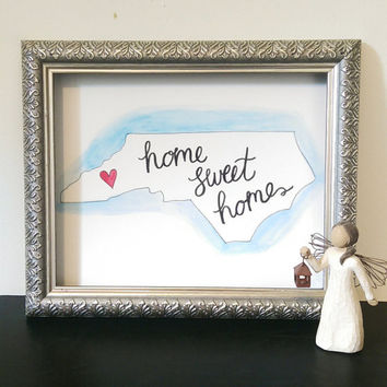 Home Sweet Home North Carolina State Wall Art Watercolor Print