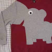 Fun Elephant Trunk sleeve sweatshirt sweater jumper UNISEX mens S Crimson ReD