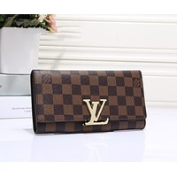 LV Fashion Women Classic Leather Buckle Wallet Purse I-OM-NBPF