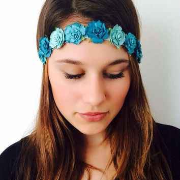 Teal Tie Dye Flower Headband Crown by Elastic Hair Bandz on Etsy