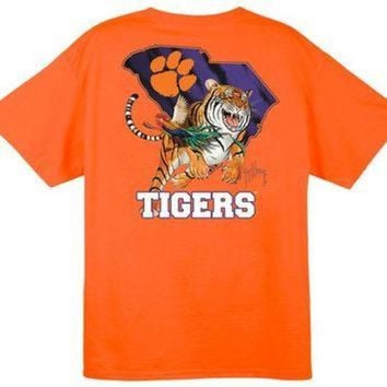 ONETOW NCAA Clemson Tigers Striped Orange Guy Harvey T-Shirt