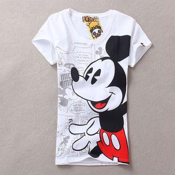 2016 summer women t-shirts girl casual harajuku style elephant mario cute cartoon minnie mouse print t shirt tee top tops shirts