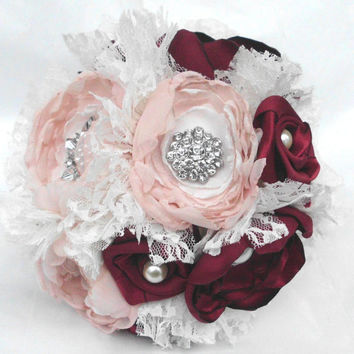 Fabric Flower Bouquet, Blush Pink, Red, Ivory, Brooch Bouquet, Broche, Bridesmaid, Wedding, Vintage Weddings Pearl, Shabby Chic, Rustic Lace