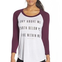 Women's Spiritual Gangster 'Sky Above Me' Baseball Tee,