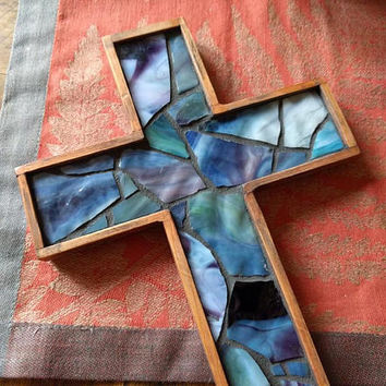 Primitive Wooden Wall Cross, Stained Glass Mosaic Wall Cross, Rustic Handmade Hanging Cross, Unique Crucifix, Blue Purple Wall Cross