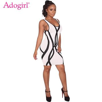 Adogirl Sexy See Through Crisscross Hollow Out Bandage Dress High Neck Long Sleeve Sheer Mesh Bodycon Club Mini Dresses Vestidos