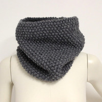 Gray Chunky Cowl, Knit Infinity Scarf, Charcoal Gray Snood, Wool Circle Scarf, Dark Gray Loop Scarf, Hand Knit Cowl, Knit Neck Warmer