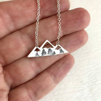 Silver Mountain Pine Tree Necklace, hand stamped charm outdoors nature pendant travel hiking climbing biking trees birthday gift for her