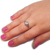 Sterling Silver Children's Clear (April) CZ Heart Ring