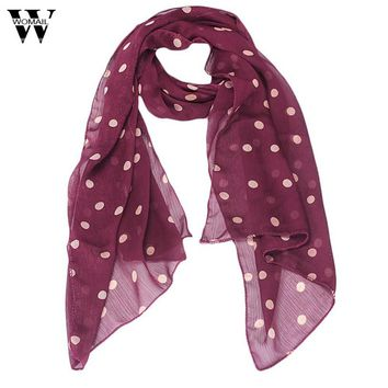 Womens Polka Dot  Chiffon Scarf Long Section Of Scarf