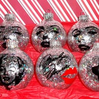 Glitter Marilyn Monroe 6PC Glass Ornament Set