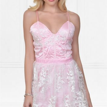 Indie XO Feeling Butterflies Pink Lace Spaghetti Strap Bustier V Neck Skater Circle A Line Flare Mini Dress