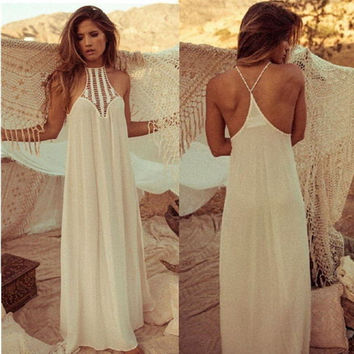 New Arrival Women Summer Maxi Dress Lace Patchwork Crochet Bohemian Backless Dresses