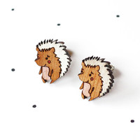 Wooden Laser Cut Hedgehog earrings