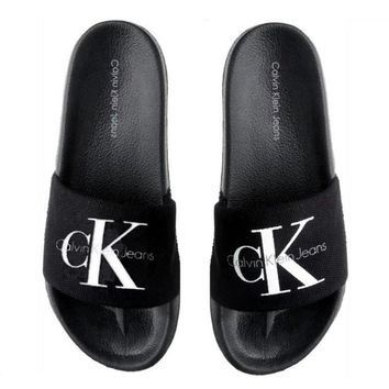 Calvin Klein Casual Woman Fashion Sandals Slipper Shoes black