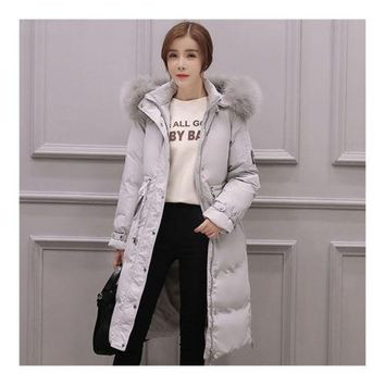 Down Coat Woman Middle Long Thick Fur Collar Slim Winter   grey