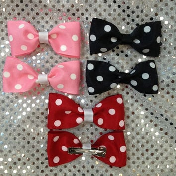 Set of two - Polka Dot Alligator Clips  Bow Ribbon Cheer Dance School