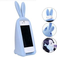 3D Cute Silicone Animal Rabbit Ear Case Stand Cover for iPhone 4 4S Blue