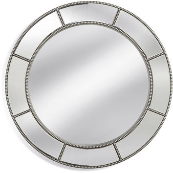 "Bassett Mirror Beaded Round Wall Mirror Silver Leaf 36"" x 36"" - M3944EC"