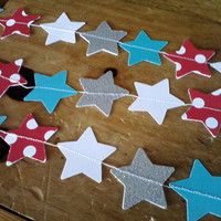 Paper Star Garland Red Polka Dot, Aqua, Silver and White Perfect for Birthday Baby Shower Parties All Occasion 10 Feet Long