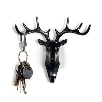 Vintage Deer Head Antlers Wall Hook for Hanging Clothes Hat Scarf Key Deer Horns Hanger Rack Wall Decoration