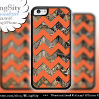 Monogram iPhone 5C 6 6 Plus Case Camo Orange Chevron iPhone 5s iPhone 4 case Ipod 4 5 case Real Tree Personalized Country Inspired Girl