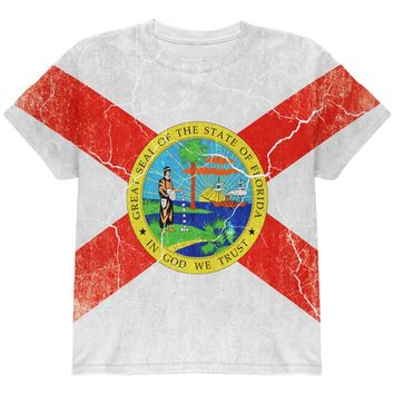 Florida Vintage Distressed State Flag All Over Youth T Shirt