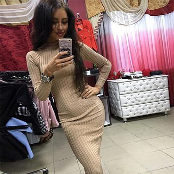 Solid 2018 Autumn Winter Dresses Women's Sexy Sheath Knitting Bodycon Dress Slim Casual Long Sleeve Elegant Package Hip Dress