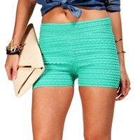 SALE-Mint Textured Shorts
