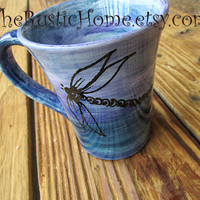 Dragonfly mug pottery dragonflies cup choose colors holds 12 ounces