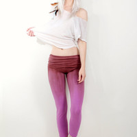 Hand Dyed Purple and Brown Yoga Leggings Pants