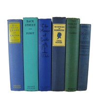 Blue Vintage Books for Mantle Decor, S/7