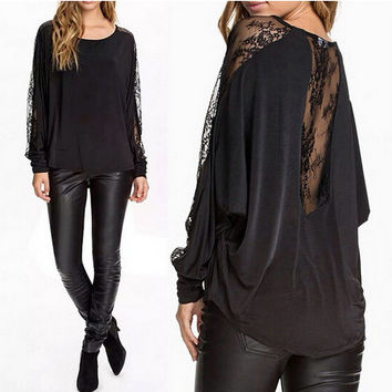 Black Cutout Lace Long-Sleeve Shirt