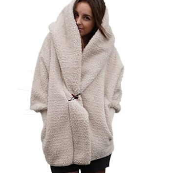 White Fur Coat Women Shaggy Fluffy Winter Coat Full Sleeve Fur Hoodie Womens Clothing Plus Size Faux Fur Long Coats Female H7