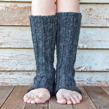 Knit Women's Leg Warmers - Ribbed and Slouchy - 100% Baby Alpaca