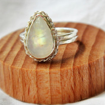 Pear-Shaped Moonstone in Sterling Silver Braided Bezel Ring