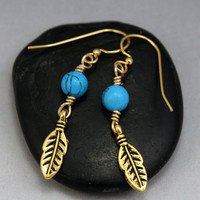 Tribal Feather Earrings - Turquoise Earrings