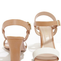 City Classified Space White and Light Tan High Heel Sandals