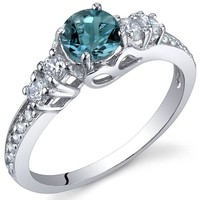 Enchanting 0.50 Carats London Blue Topaz Ring in Sterling Silver Rhodium Nickel Finish Sizes 5 to 9